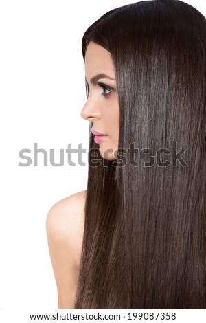 Beautiful girl with long dark hair, close up beauty - stock photo