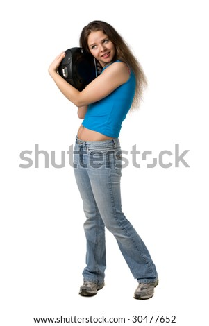 beautiful girl with long hair embraces music player, isolated on white - stock photo
