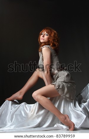 beautiful girl with long legs in an active dance - stock photo