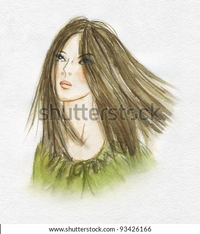 Beautiful girl with long light brown hair| watercolor
