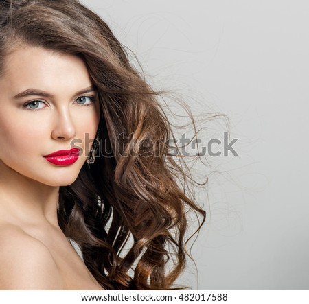 Beautiful Girl Long Wavy Hair Brunette Stock