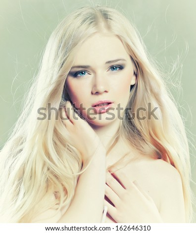 Beautiful girl with long white hair