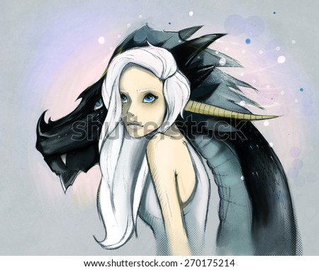 Beautiful girl with long white hair and black dragon's head from behind.  - stock photo