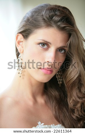 beautiful girl with luxurious brown hair - stock photo