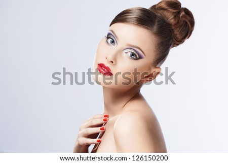 Beautiful girl with makeup and hair - stock photo