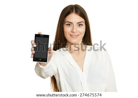 Beautiful girl with mobile phone on a white background