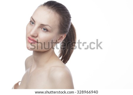 beautiful girl with nude make up
