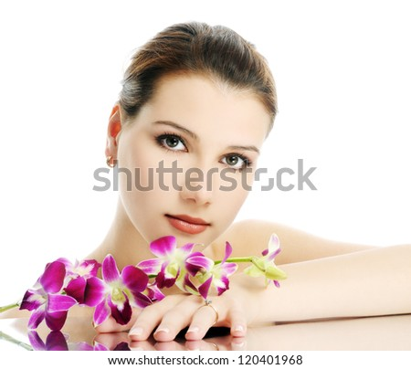 beautiful girl with orchid - stock photo