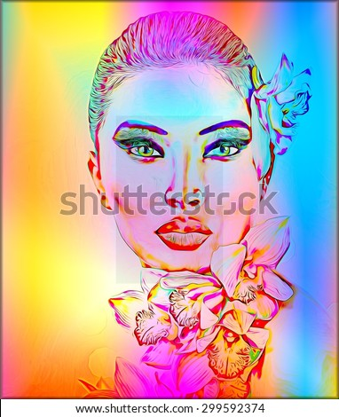 Beautiful Girl With Orchid Flowers. Abstract digital art image of a woman's face close up on a colorful floral textured background. Great for expressing modern art, beauty or abstract themes. - stock photo