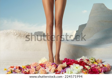 Beautiful girl with perfect legs standing in the flowers - stock photo