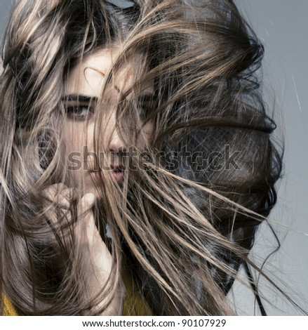 beautiful girl with perfect skin and long hair, developing - stock photo