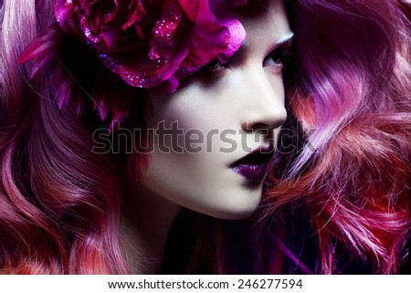beautiful girl with pink hair - stock photo