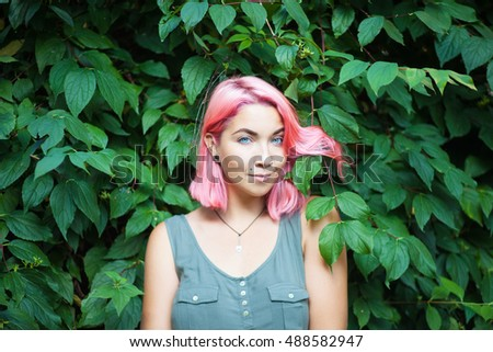 beautiful girl with pink hair