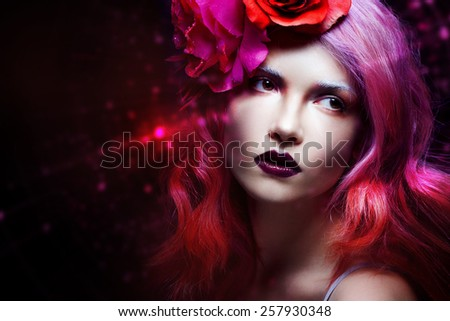 beautiful girl with pink hair, art,  mystical radiance - stock photo
