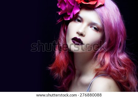 beautiful girl with pink hair,  delightful bright image - stock photo