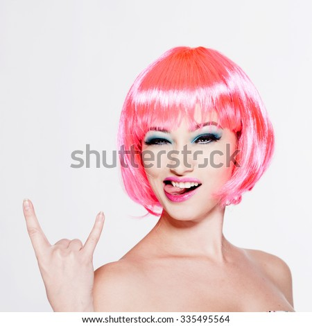 beautiful girl with pink hair isolated on white - stock photo