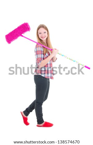 beautiful girl with pink mop isolated on white background - stock photo