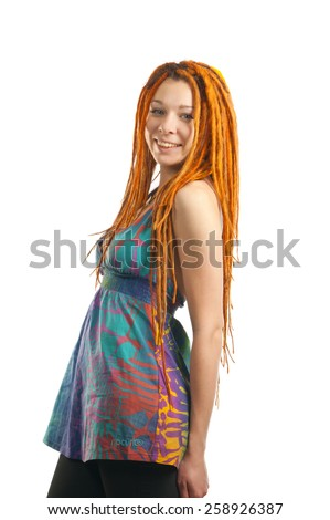 Beautiful girl with red dreadlocks