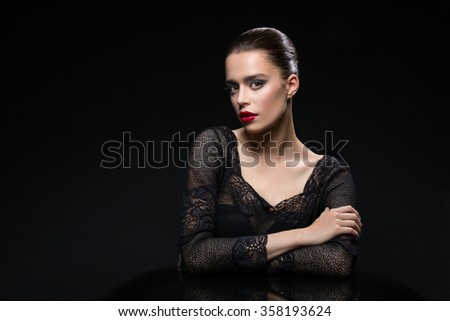 Beautiful girl with red lips - stock photo