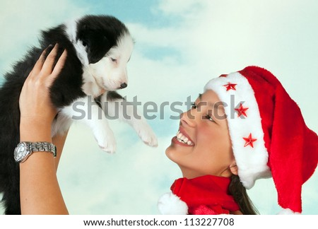 Beautiful girl with santa hat holding a cute little border collie puppy - stock photo
