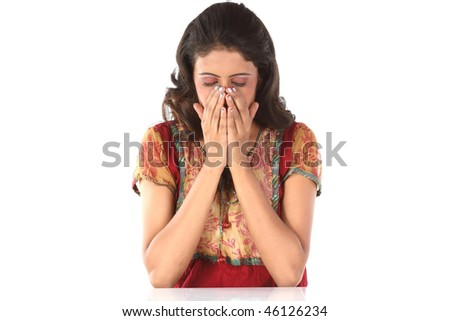 beautiful girl with severe cold - stock photo