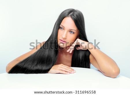 beautiful girl with shiny black hair. fashion model - stock photo