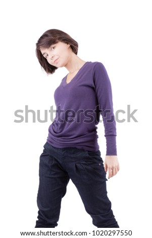 beautiful girl with short hair posing against white background