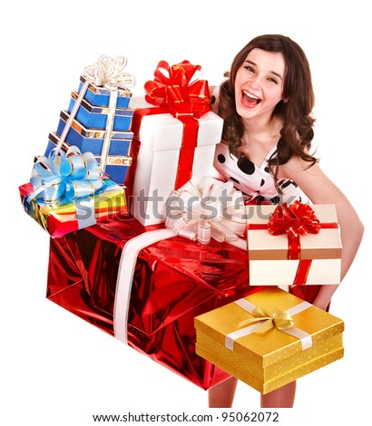 Beautiful girl with stack of gift box. Isolated.