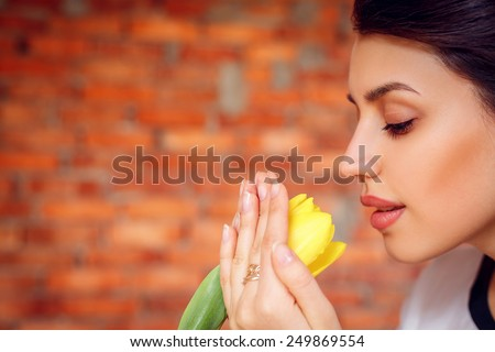 beautiful girl with tulips. close-up,  Valentine's Day, March 8, Mother's Day - stock photo