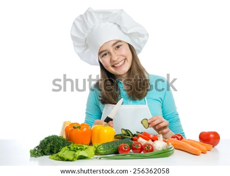 beautiful girl with vegetables on a white background
