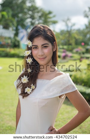 beautiful girl with white flower