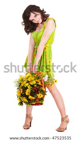 Beautiful girl with wild spring flower. Isolated.