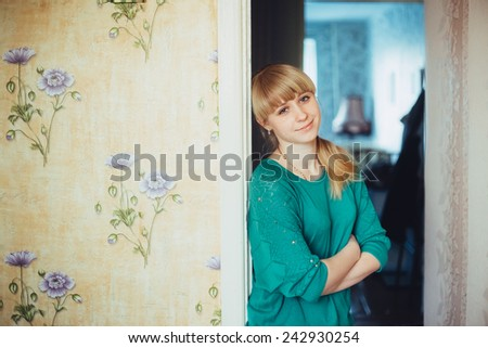 Beautiful Girl Woman In Green Blouse At Home