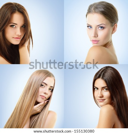 Beautiful girls, faces closeup - stock photo