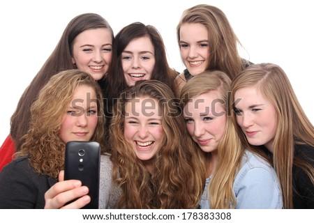 Beautiful girls having fun - stock photo