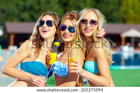 beautiful girls having fun on summer party