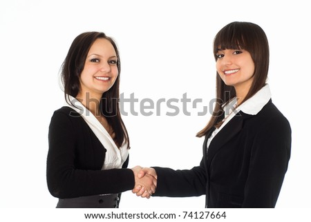beautiful girls in a black business suit with a white background