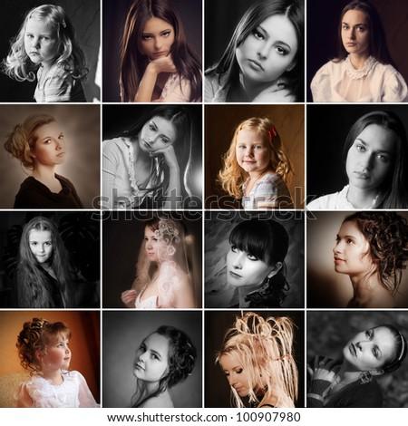 beautiful girls on dark background - stock photo