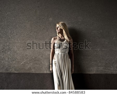 Beautiful glamour blond woman outdoor. - stock photo