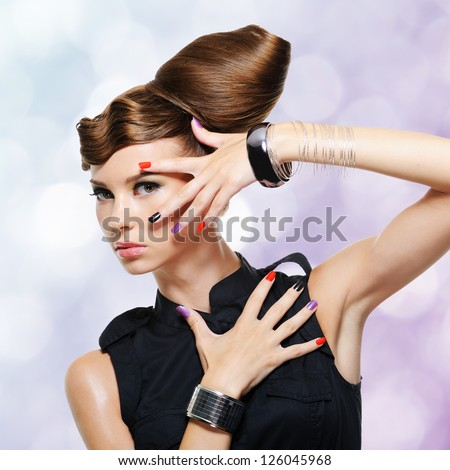 Beautiful glamour girl with creative hairstyle. Blinking Background