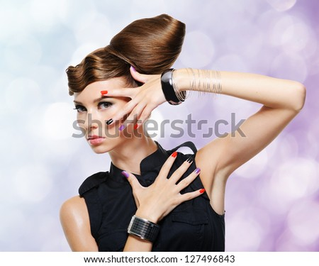 Beautiful glamour girl with creative hairstyle. Blinking Background.