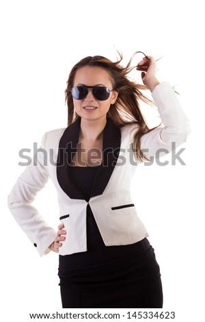 Beautiful glamour girl with sunglasses isolated on white background studio shot