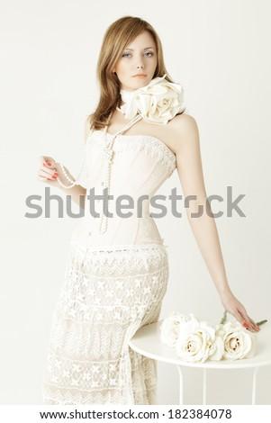 Beautiful glamour sexy woman, fashion portrait - stock photo
