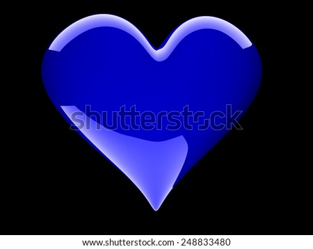 beautiful glossy blue heart isolated on white - stock photo