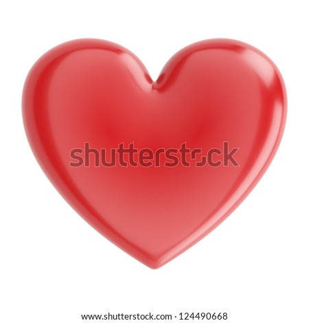 Beautiful Glossy Heart For Valentines Day Greeting Card (Isolated On White)