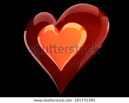 beautiful glossy red heart inside glass heart - stock photo