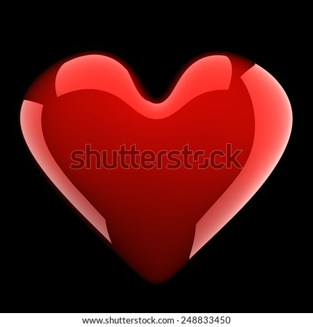 beautiful glossy red heart isolated on black - stock photo