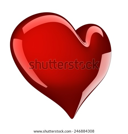 beautiful glossy red heart isolated on white - stock photo