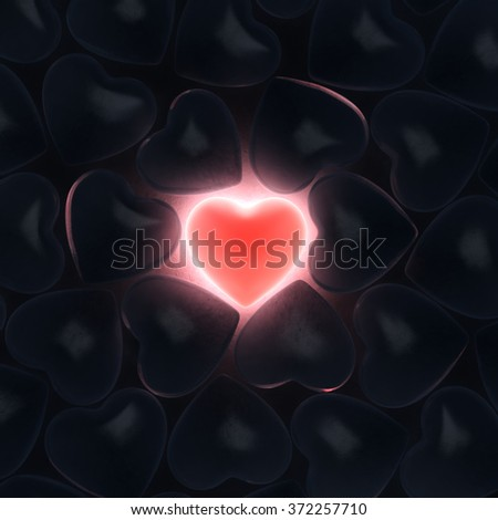 Beautiful glowing heart on a dark background