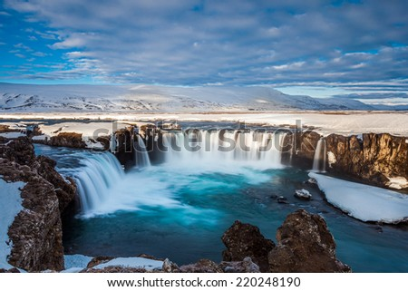 Beautiful Godafoss falls in early spring, Iceland - stock photo